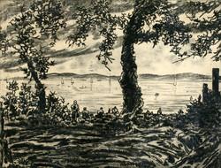 Farkasházy miklós summer lake 42x52cm engraving etching artwork landscape vaszary sailboats bathers