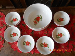 Zsolnay poinsettia patterned compote set
