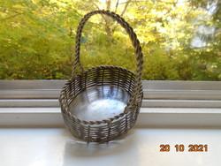 Wicker silver-plated metal ornament basket