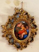 Antique hand painted porcelain picture in florentine frame