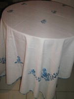 Beautiful antique Kalocsa tablecloth with hand-embroidered edge with beautiful blue thread
