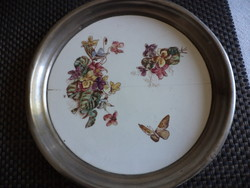 Small metal-framed faience tray