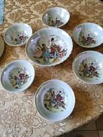 7-piece, lys-glazed scene porcelain compost set