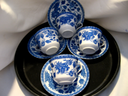 Antique blue and white kitten or lion japanese cup 3 pcs