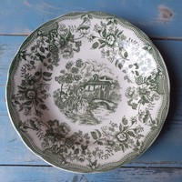 English faience deep plate in green color