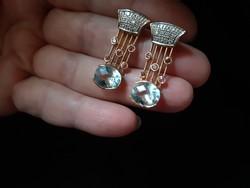 Art deco14.Gr Gold earrings with diamonds-aquamarine and rubies