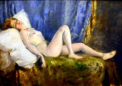 Miklós Mihalovits (1888-1960) lying nude with coral necklace