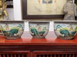 Hand painted, sceney Chinese ceramic flower pots. (3 pcs), oriental, asian, japanese, pot