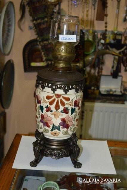 Osztrák majolika petróleum lámpa Lámpa, csillár | Galéria