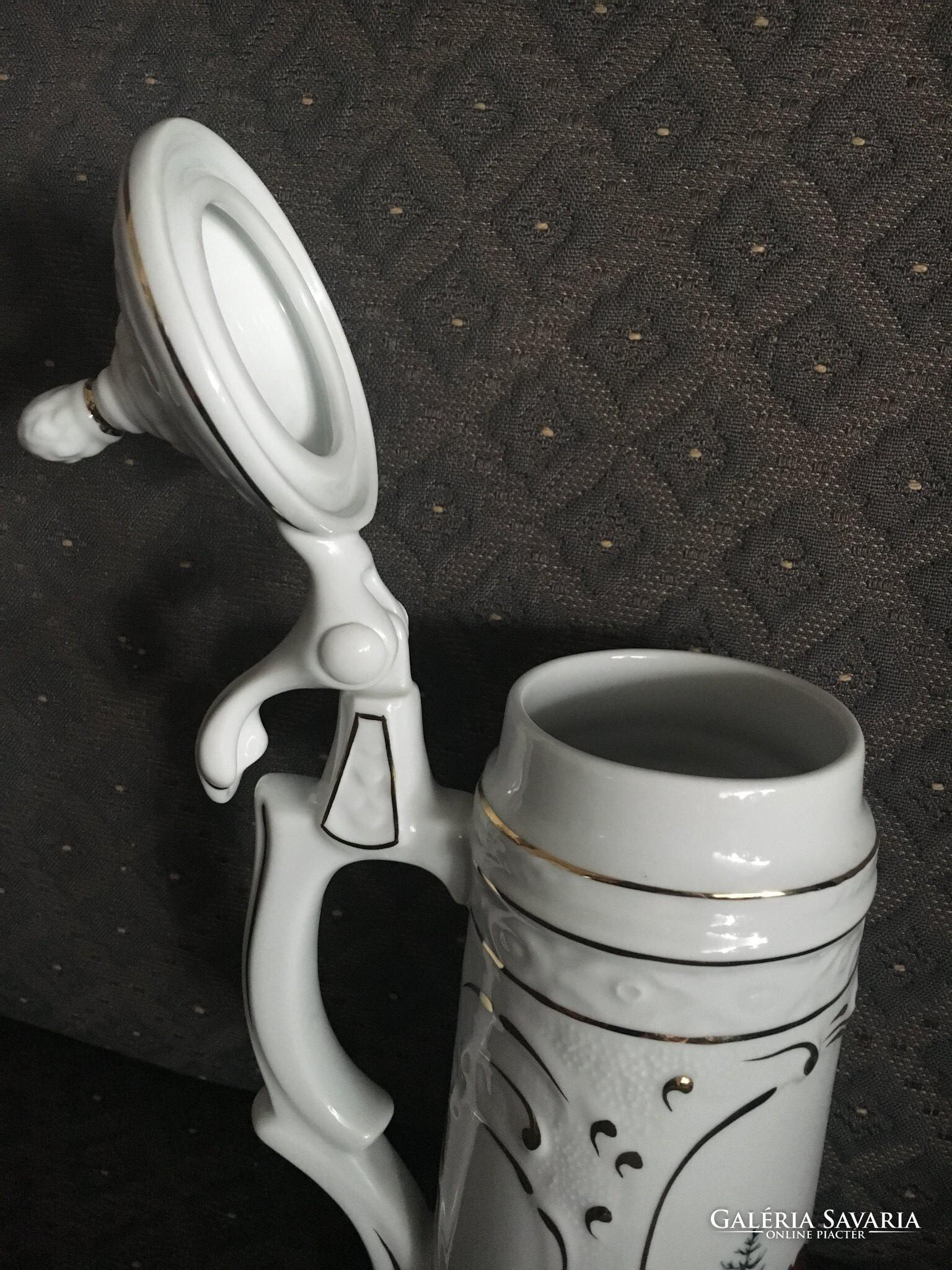 5c5c30b9aa Beautiful Hollóházi Covered Cup / Jug - Hunter motif - Porcelains ...