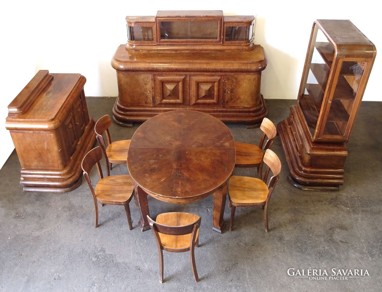 0S620 Antik 9 darabos art deco ebédlő garnitúra Bútor